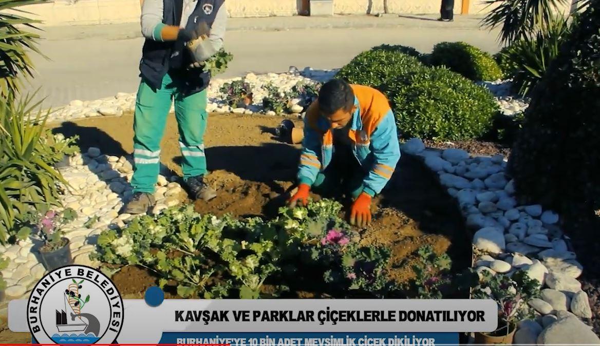 Burhaniye'de Kavşak ve Parklar Çiçeklerle Donatılıyor
